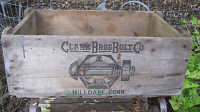 Antique Primitive Ct Country Hardware Store Wood Box Clark Bolt Co Usa Tool Sign 8
