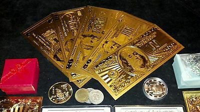 (☆)HUGE 22Pc.LOT~US& World COINS/FOSSIL/ GOLD Banknote Set, SILVER Shot/CHARM ☆ 2