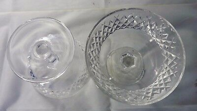 """Set of 3 Waterford Crystal Alana Pattern Compote Candy Dish 4.5"""" Ireland ~ A567"""