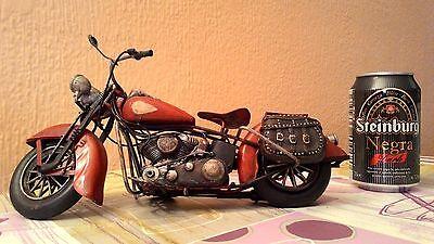 Moto De Metal Vintage Para Decoración 28 Cm