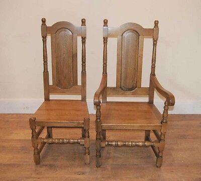 4 Oak Farmhouse William Mary Kitchen Chairs Tudor 2