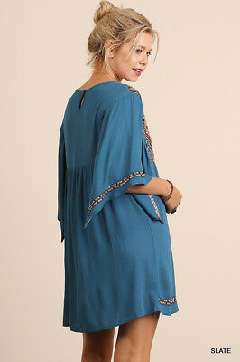 Umgee Dress Size XL S M L Embroidered Tunic Kimono Sleeve Swing Boho Womens New 3