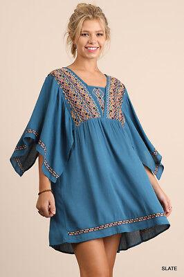 Umgee Dress Size XL S M L Embroidered Tunic Kimono Sleeve Swing Boho Womens New 4