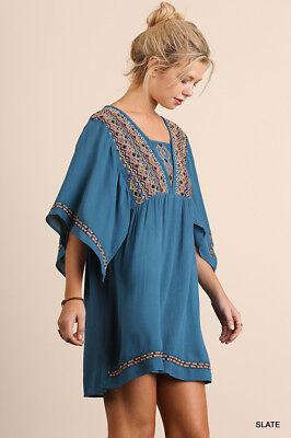 Umgee Dress Size XL S M L Embroidered Tunic Kimono Sleeve Swing Boho Womens New 2