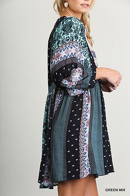 Umgee Dress Size XL S M L Mint Print Embroidered Shift Boho Peasant Womens New 4