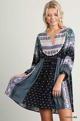 Umgee Dress Size XL S M L Mint Print Embroidered Shift Boho Peasant Womens New 2