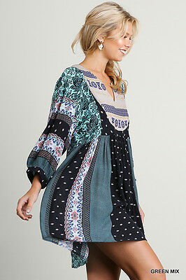 Umgee Dress Size XL S M L Mint Print Embroidered Shift Boho Peasant Womens New 3