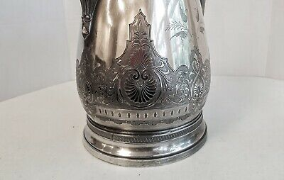 Victorian Aesthetic Silver Plate Ice Water Pitcher with  Polar Bear Finial 7