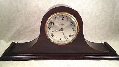 Antique Ingraham Mantel Clock Mahogany Case Runs and Strikes 2