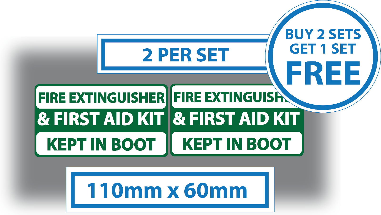 Fire Extinguisher Carried /& First Aid Carried Stickers Car Van Ambulance 75mm