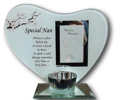 Nan Birthday Memorial Tea Light Candle Holder 3D Plaque with Original Verse