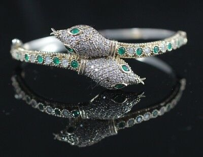925 Sterling Silver Handmade Authentic Turkish Emerald Bracelet Bangle Cuff 2