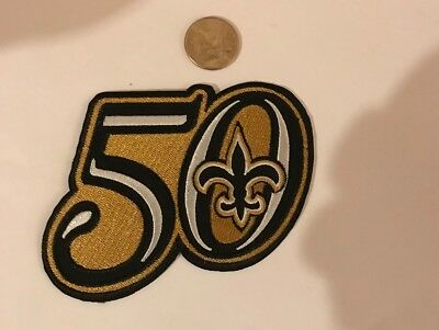 """brand new a0598 046b6 NEW ORLEANS SAINTS 50th Year Anniversary Vintage Embroidered Iron On Patch  5""""x4"""""""