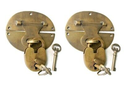 "2 heavy HASP & STAPLE Padlock and KEY included WORKS 5"" OVAL catch latch B 9"