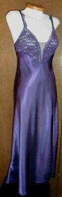 Victoria Secret S Purple Long Nightgown Slit Gown Satin Woman Lace Small Vintage 4