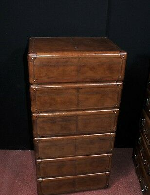 Pair Leather English Campaign Chest Drawers Colonial Tall Boys Luggage 4