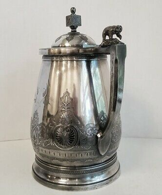 Victorian Aesthetic Silver Plate Ice Water Pitcher with  Polar Bear Finial 3