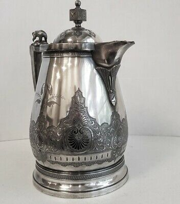 Victorian Aesthetic Silver Plate Ice Water Pitcher with  Polar Bear Finial 5