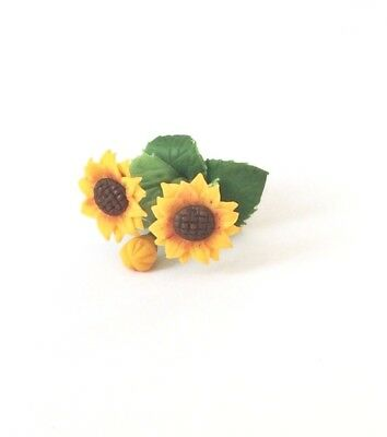 6x Sunflower Flowers Artificial Clay Miniature Dollhouse Collectibles Decor #005 3