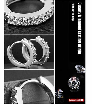 Charm Crystal 925 Sterling Silver Stud Hoop Earrings Fashion Women UK Jewelry 5