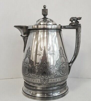 Victorian Aesthetic Silver Plate Ice Water Pitcher with  Polar Bear Finial 2
