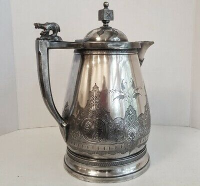 Victorian Aesthetic Silver Plate Ice Water Pitcher with  Polar Bear Finial 4