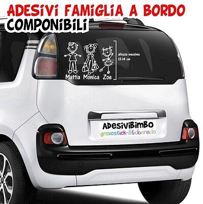 Adesivi famiglia a bordo personalizzati per auto, moto, camper. Family sticker.. 3