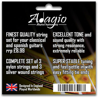 3 Packs Nylon Classical Guitar Strings By Adagio + FREE CHART + 1ST CLASS POST 3