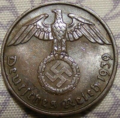 SWASTIKA copper penny ww2 .The real coin,no fakes nazi 5