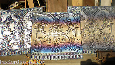 Antique Iridescent Carnival Victorian Ceiling Tin Tile Ornament Shabby Chic