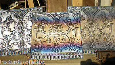 Antique Victorian Ceiling Tin Tile Flowers w Iridescent Carnival Patina Chic 5