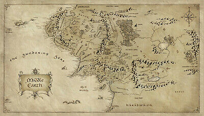 New Middle Earth Lord Of The Rings Lotr Map Hobbit Home Print Art Premium Poster 2