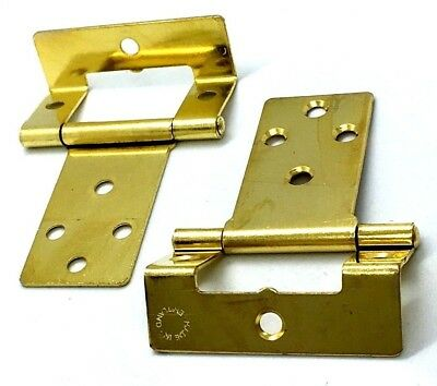 CRANKED HINGES 50mm brass plated easy hang flush hinge caravan cupboard (232) 2
