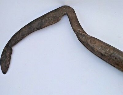 Vintage Handmade Triple Mold Grass Weed Cutter Scythe Sickle Wooden Handle