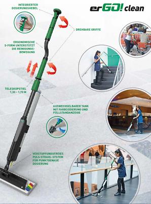 Unger FAKT7 erGO! Clean Bodenreinigungs-Set Taschenmopp 40 cm S-Teleskopstiel 9