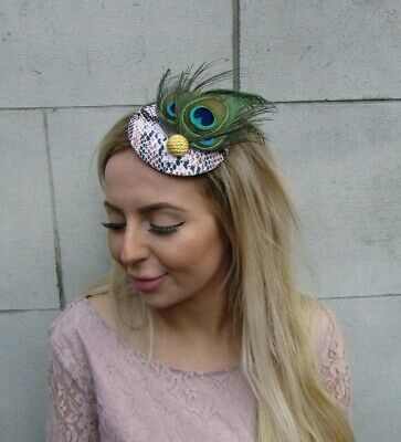Dusky Pink Snakeskin Gold Green Peacock Feather Hat Fascinator Hair Clip 0102 2