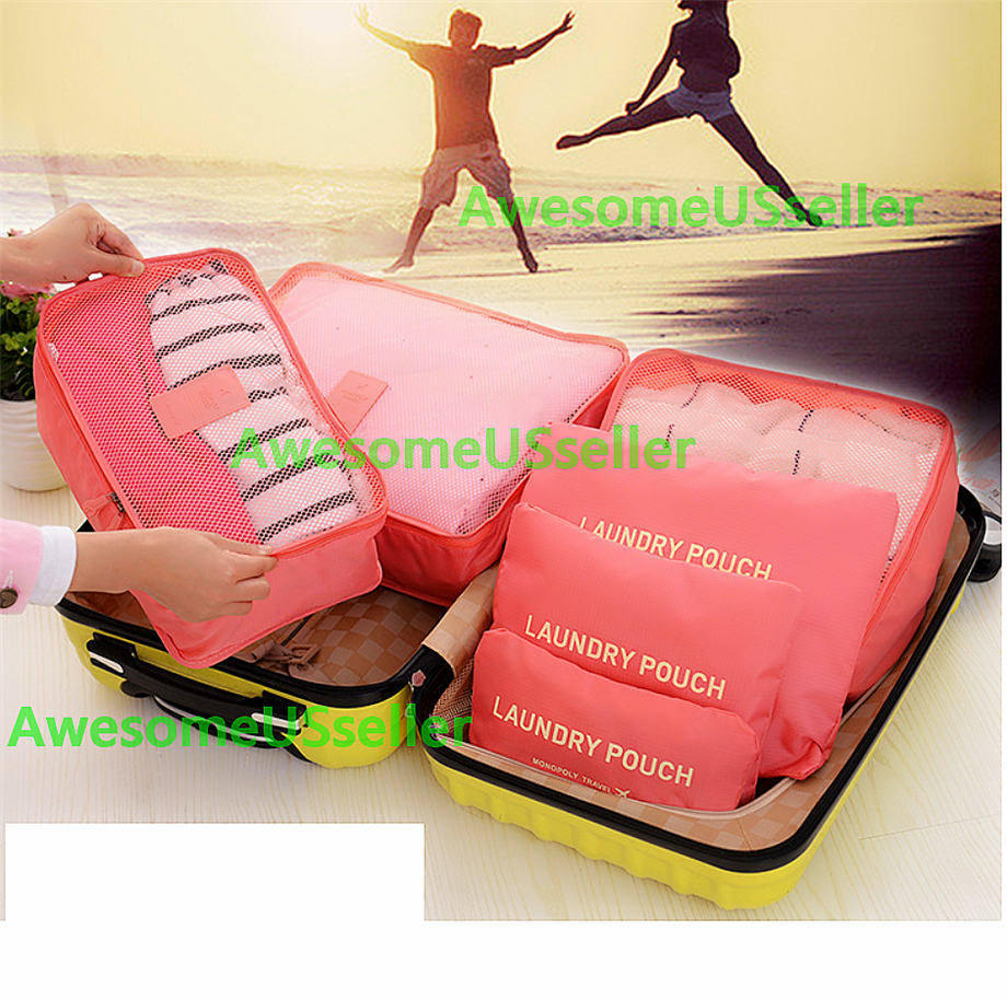 Bags 6PCS Waterproof Clothes Travel Storage Packing Cube Luggage Organizer Pouch 12
