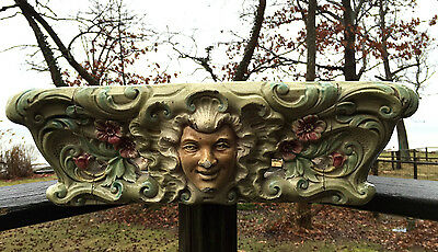 HEAVY Antique Majolica Pedestal Depose ORNATE FACES Base Ceramic ART Cement VTG 2