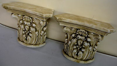 Pair Antique Finish Shelf Capitol plaster Wall Corbel Sconce Bracket Home Decor 3