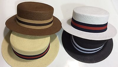 New Men's Bruno Capelo Hat Straw Boater Gatsby barbershop skimmer Fashion Colors 7