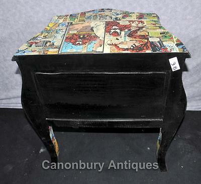 Pair Chest Drawers Comic Print Bedside Chests Tables Nightstands 8