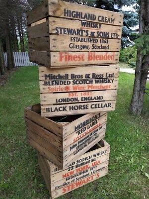 (4er SET) alte rustikale Obstkisten Holzkisten WHISKY Weinkisten Regale Vintage
