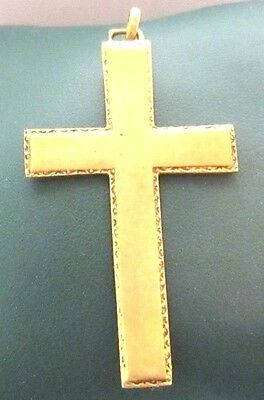OUTSTANDING VINTAGE BRASS CROSS,ENGRAVING,EARLY 20th. Century !!! # 958 3