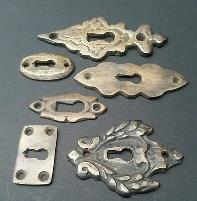 """6 various antique style escutcheon key hole covers ornate 1-3"""" solid brass #E 8"""
