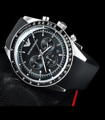 7932a5cff362a EMPORIO ARMANI MEN S Tachymeter Chronograph Black Watch Ar5985 ...