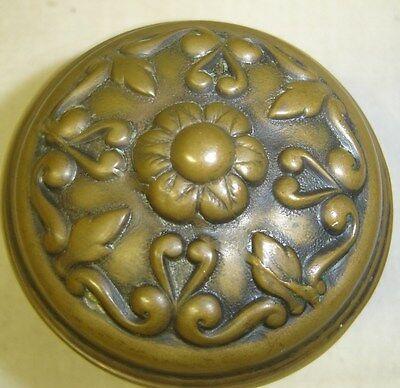 Antique Pair Heavily Embossed Brass Victorian Door Knobs   w/ Nice Patina  7091 3