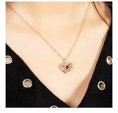 100 Languages Light Projection I Love You Heart Pendant Necklace Lover+Pouch 151 3