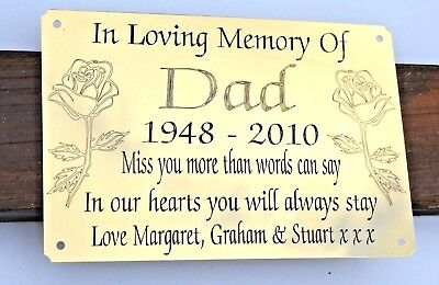 """Solid Brass Memorial Bench Plaque Grave Marker Sign 6""""X4"""" Personalised Engraved 2"""