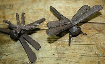 2 Rustic Cast Iron Garden Bugs DRAGONFLY Flower Insects Plants Statue Bug