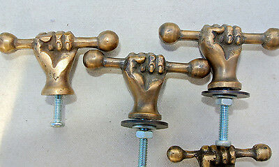 4 small pulls handles FIST solid brass old style shape HAND knobs heavy 45mm 2